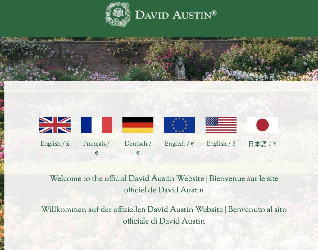 David Austin Roses Language Selector Page