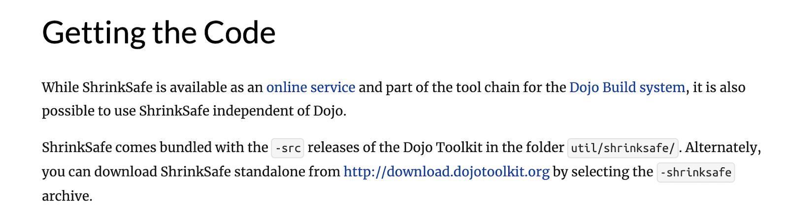 Dojo Shrinksafe screenshot javascript minification tools for eCommerce sites