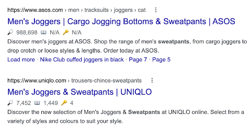 Example of eCommerce site using adding product colloquialisms in the collection title tags