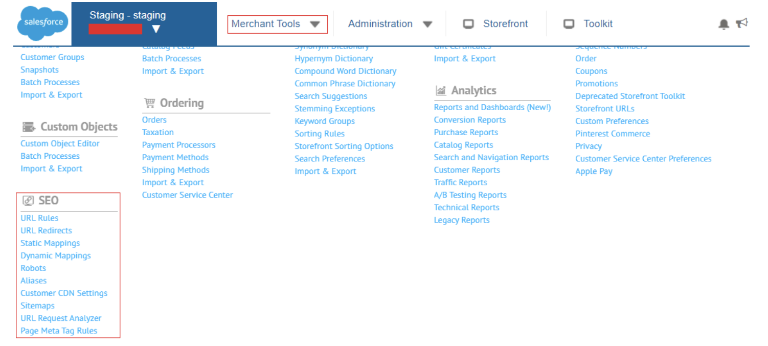 Example of how SEO view of Salesforce commerce cloud has limited options