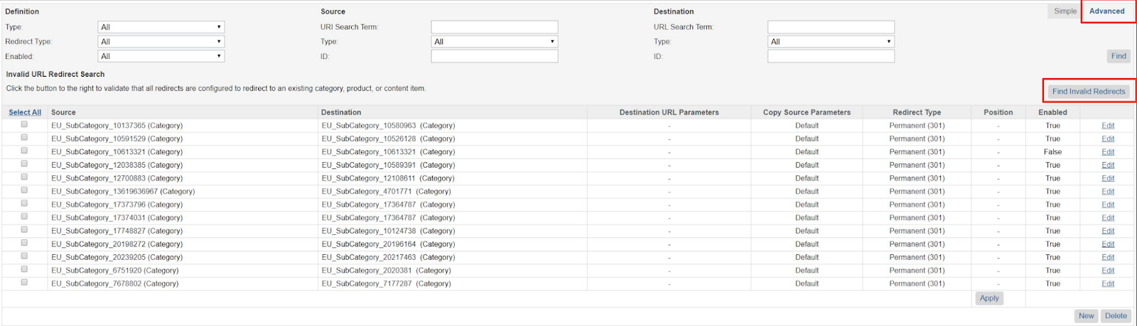 Finding Invalid URL Redirects in salesforce commerce cloud