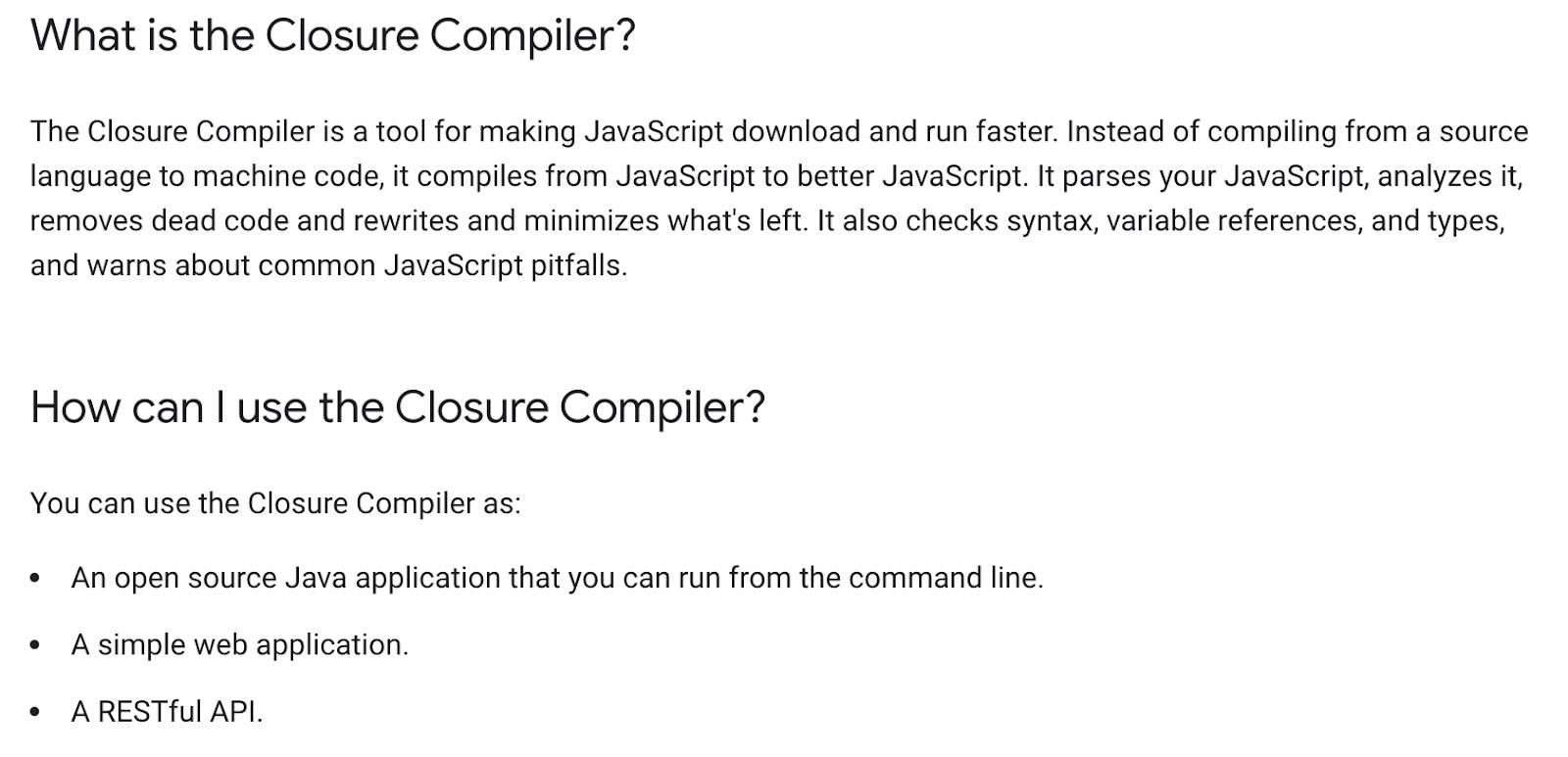 Google closure compiler javascript minification tools for eCommerce sites