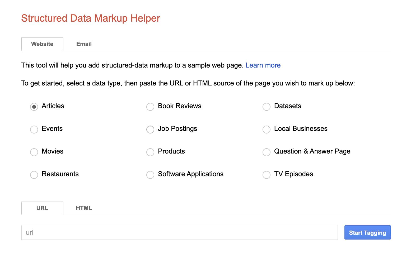 Google structured schema tool screenshot