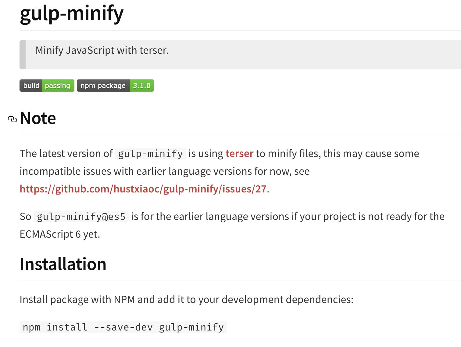 Gulp-Minify screenshot javascript minification tools for eCommerce sites
