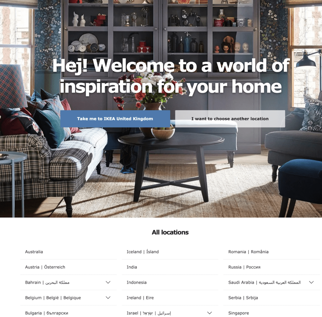 Ikea old homepage with language selector