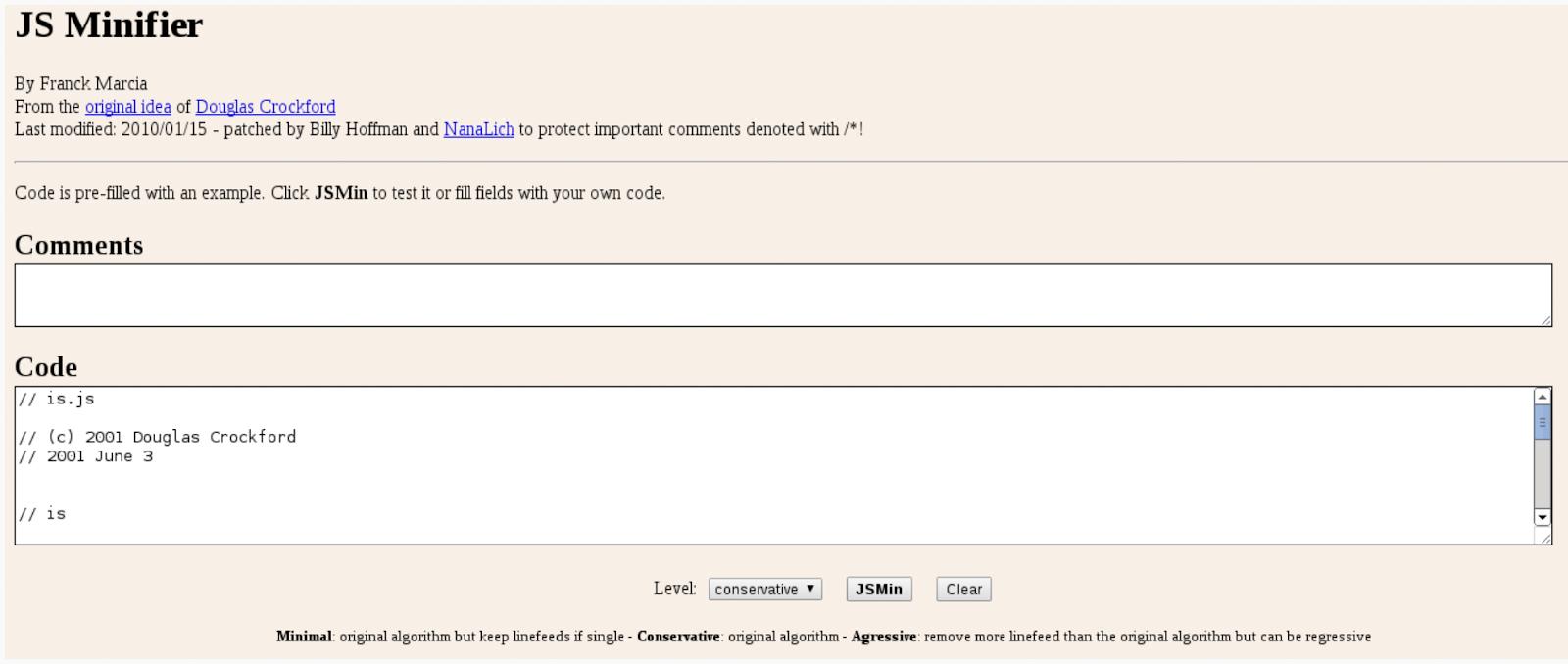 JS Minify screenshot