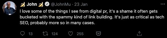 John Mueller tweets about importance of digital PR for SEO