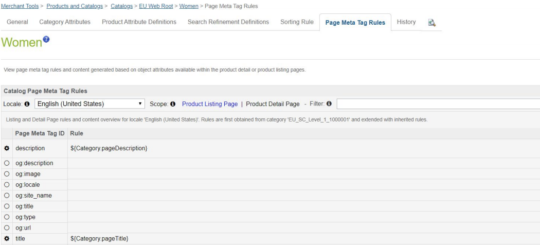 PLP meta tag rules and automated description