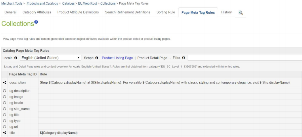 Product listing page meta tag rules and automated description