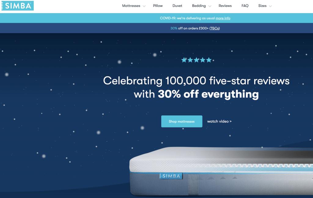 Simba sleep international website