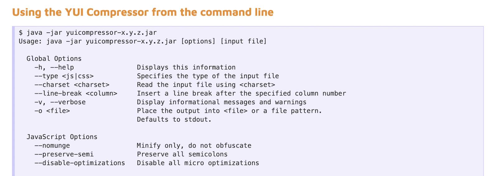 YUI compressor screenshot javascript minification tools