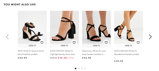 example of customers also bought section from ASOS