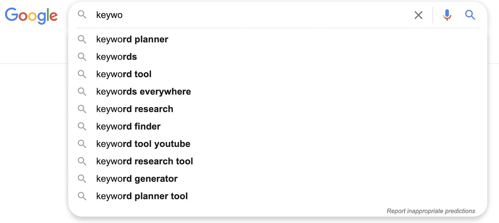 google autocomplete examples