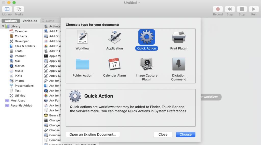 Automator Quick Action