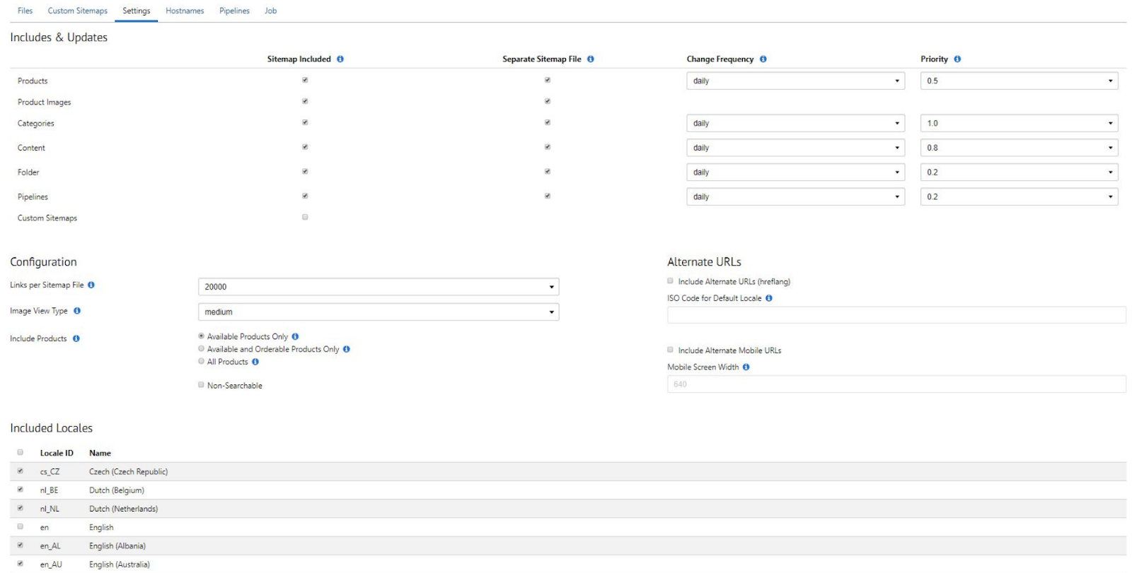 using alternate urls in salesforce commerce cloud to customise sitemaps for hreflang requirements